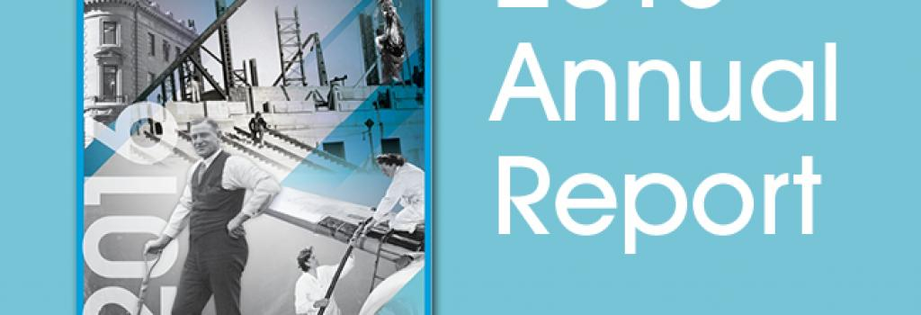 """The cover of the WCB 2016 Annual Report on a blue background, with the text """"2016 Annual Report."""" The cover of the report features black and white photos from the WCB's 100 years of history."""